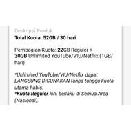 Paket Tri 3 Three 22Gb 52Gb Unlimited Youtube 30 Hari 24Jam