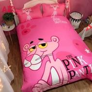 粉紅頑皮豹純棉卡通單人床包三件/雙人床包四件組