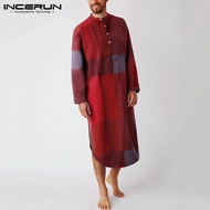 (Muslim) INCERUN Baju Muslim Pria Piyama Lengan Panjang Katun Kotak-kotak