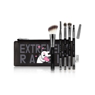 【韓國FLALIA】浮誇兔化妝刷具6件組-黑色(附收納包)