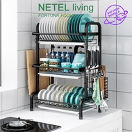 NETEL Dish Drying Rack 304 Stainless Steel Dish Rack with Utensil Holder, Cutting Board Holder and Dish Drainer for Kitchen Counter