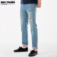 BIG TRAIN 純棉破壞補丁小直筒褲-中藍