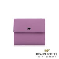 【BRAUN BUFFEL 德國小金牛】台灣總代理  艾蒂 7卡三折皮夾-粉紫色/BF652-520-BO