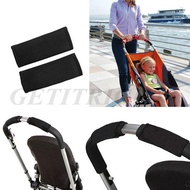 2Pcs Black Baby Stroller Handle Grip Cover Protective Wheelchairs Non-slip