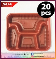 Disposable bento box / food storage with clear lid (4 DIVISIONS / COMPARTMENTS)