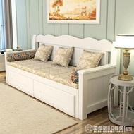 實木沙發床客廳1.8雙人推拉坐臥兩用多功能伸縮抽拉床小戶型    (圖拉斯)