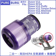 適用Dyson戴森V11 SV14 SV15 Fluffy Animal Absolute Torque Drive 前後置二合一HEPA濾網濾心耗材