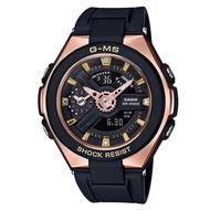 CASIO 卡西歐 MSG-400G-1A1DR BABY-G 成熟璀璨耀眼女錶 黑 玫瑰金 45mm