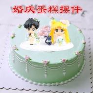 超值新款!美少女戰士水冰月野兔 地場衛手辦公仔結婚婚禮生日蛋糕裝飾擺件