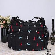 CABACI 淘氣小貓繡線多夾層斜背包