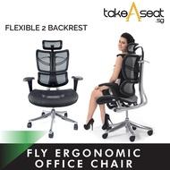 FLY Ergonomic Chair ★ Flexible Lumbar Support ★ Duo Backrest ★ Mesh Office Chair ★ Director Chair