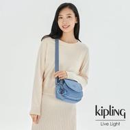【KIPLING】氣質粉嫩藍翻蓋側背小包-STELMA