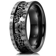 8mm Steampunk Titanium Gear Wheel Pinion Bolts Ring Black Zirconium Wedding Band Rivet