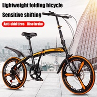 20 Inch 6-speed Variable Speed Foldable Bicycle With Integral Wheels Adult Double Disc Mountain Bike Super Light Shock Absorber Road Bike Men's And Women's Portable Folding Bicycle Commuter Bike