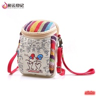 Cartoon Oriental Printing Wallet Women Mini Phone Bag Female Crossbody Bag