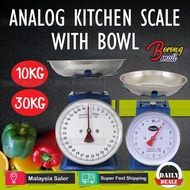 Kitchen Scale 10/30kg Measuring Analog Scale Spring Balance With Bowl