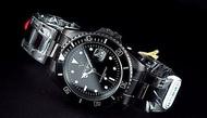 Emilio Valentino范倫鐵諾全不鏽鋼全黑水鬼submariner日本星辰机芯,防水50米,IP black