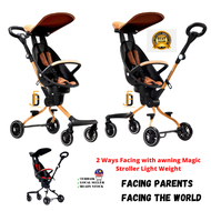 Quality Guarantee MAGIC STROLLER V3C AND V5 with Awning Stroller Foldable Boleh Lipat Viral 360 Baby Awning Stroller