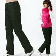 【遊遍天下】女款顯瘦直筒防風防潑水禦寒刷毛長褲/ 防風雪褲P106 墨綠