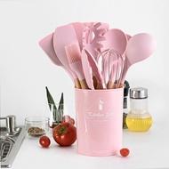矽膠廚具 實木手柄帶收納桶 粉色硅膠廚具11件套裝