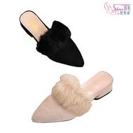 大尺碼柔軟毛面氣質低跟前包穆勒鞋 054-M186 鞋鞋俱樂部