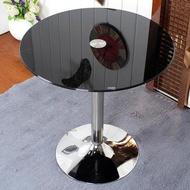 洽談桌鋼化玻璃圓桌小戶型現代簡約飄窗茶几小桌子經濟型時尚餐桌洽談桌