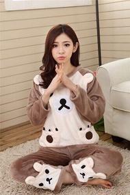 Autumn Winter Women Pajamas Set Pajamas Pant Sleepwear Warm Nightgown Sleepwear Flannel &Cotton Blended Female Pajama