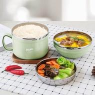 304不銹鋼保溫飯盒兒童便當盒學生餐盒成人快餐杯帶蓋碗韓國飯缸 DF