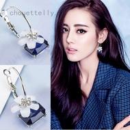 Women Silver Chic Blue Crystal Flower Oriental Cherry Drop Hook Dangle Earrings