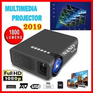 โปรเจคเตอร์ รุ่นใหม่ ความสว่าง 1800 ลูเมน ต่อผ่ารมือถือได้ทันที ภาพสูงสุด 138 นิ้ว 1080P HD Projection Mini LED Projector - YG520 Plus