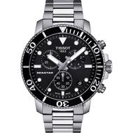 【TISSOT 天梭】水鬼 Seastar 1000 海洋之星300米潛水計時錶-黑x銀/45mm(T1204171105100)