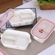微波爐加熱專用陶瓷飯盒長方形便當盒帶蓋分隔成人韓式三格保鮮碗