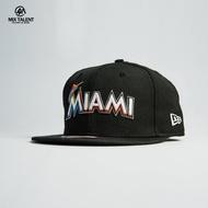 NEW ERA MLB 邁阿密馬林魚 後扣平簷棒球帽 黑 基本款 9FIFTY 限量訂製帽 【MIX TALENT】