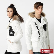 【5th STREET】中性鋪棉雙層長袖外套-白色