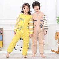 寶寶睡袋秋冬加厚款男童女童兒童防踢被大童連體睡衣冬季純棉分腿