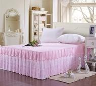 夏季公主風床裙式單件保護套蕾絲邊2.0m米床簡約雷絲床罩夏天薄款
