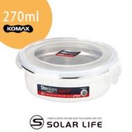 韓國KOMAX Stenkips圓型不鏽鋼保鮮盒270ml白色.露營野餐環保不銹鋼食物醃漬密封罐樂扣蓋便當盒