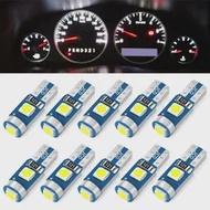 10Pcs Super Bright T5 LED W1.2W W3WภายในรถAuto Side Wedgeแผงหน้าปัดเครื่องวัดความดัน 12Vหลอดไฟ
