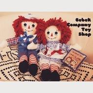 狀況極佳 一對 12吋/30cm raggedy Ann & Andy 古董 絕版玩具 布偶 安娜貝爾 娃娃 古董玩具(1550元)
