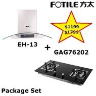 Fotile EH13 Chimney Hood+GAG 76202 Gas Hob Package Set