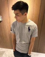 美國百分百【Ralph Lauren】T恤 RL 短袖 T-shirt Polo 大馬 藍馬 素面 灰色 E102