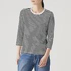 [MUJI無印良品]女印度棉天竺七分袖T恤XS黑紋樣