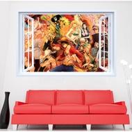 🔥現貨~郵寄🔥動漫 海賊王假窗戶☠️創意壁貼 魯夫 羅賓 娜美 羅 紅髮傑克 索隆 喬巴 兒童房裝飾🍄重複撕貼