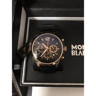 Montblanc萬寶龍男士手錶 真三眼 日曆男款手錶 商務石英腕錶 皮帶手錶