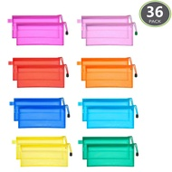 JM-capricorns 36pcs 9 x 4-1/2 inches Big Capacity Waterproof Plastic Double Layer Zipper File Bags Invoice Pouches Bill Bag Pencil Pouch Pencil Case Pen Bag (10 Colors)