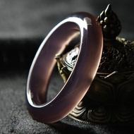 天然巴西冰種帝王紫玉髓玉石手鐲女款紫玉髓瑪瑙手鐲鐲子批發