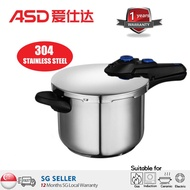 ASD YS22A3WG Pressure Cooker/304 stainless steel pressure cooker with extra thickness 6L/SG seller and SG warranty