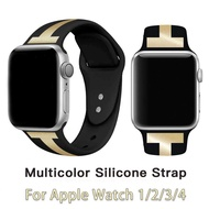 New Double Color Sport Soft Silicone Band For Apple Watch Series 6 SE 5 4 3 2 1 Wrist Bracelet Strap For Apple Watch 5 44mm 42mm