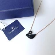 Swarovski Swan Pendant Black Pave 38cm Rose Gold Chain Necklace Authentic for Women
