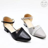รองเท้าคัชชูรัดส้น รองเท้าออกงาน ตกแต่งสวยงาม ส้นสูง 1 นิ้ว A666 (สีเทา / ดำ) ไซส์ 35-40